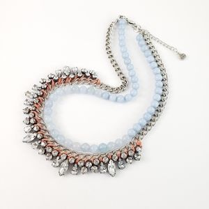 LOFT Statement Necklace Blue Beads Silver Tone